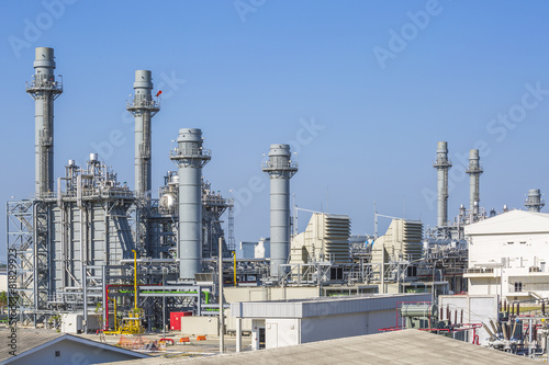 Staande foto Industrial geb. Gas turbine power plant with blue sky