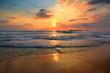 Leinwanddruck Bild - landscape with sea sunset on beach