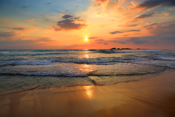 landscape with sea sunset on beach