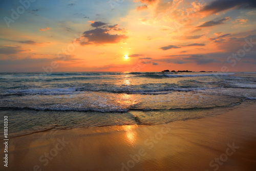 Poster Strand landscape with sea sunset on beach