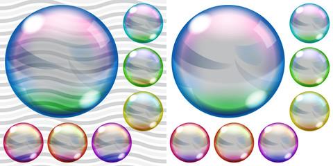 Transparent and opaque colored soap bubbles
