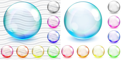 Multicolored transparent and opaque glass spheres