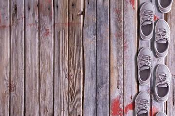 Shoe border on a wood background