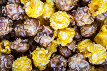 Texture of mixed cheese and caramel popcorn