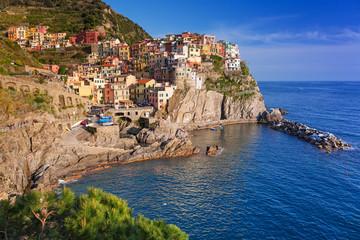 Manarola town at the Ligurian Sea, Italy.
