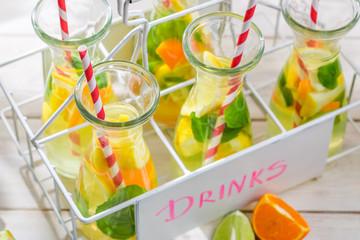 Summer lemonade with citrus and mint leaf
