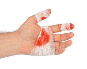 Hand with blood and bandage