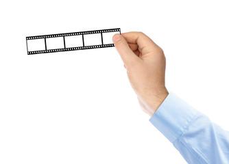 Photographic film in hands