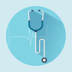 Stethoscope flat icon with long shadow.  medical concept.