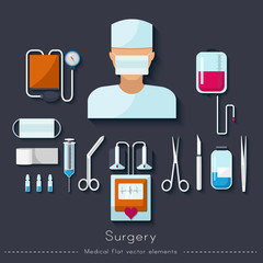 Healthcare and medical concept. Surgical set in flat style