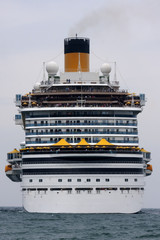 Stern view of a cruise ship