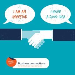 Handshake with speech bubbles investor creator.