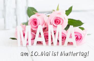 Am 10.Mai ist Muttertag Karte Rosen Rosa