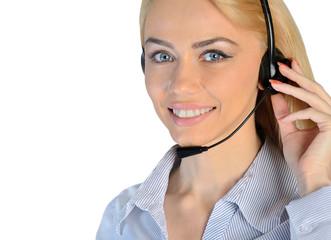 Business woman headphones