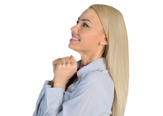 Business woman wish something