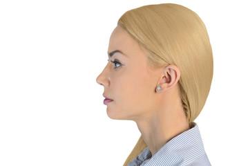 Business woman head looking side