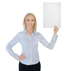 Business woman showing empty paper