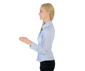 Business woman hold something small