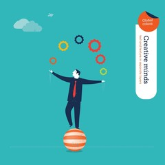 Businessman juggler with gears
