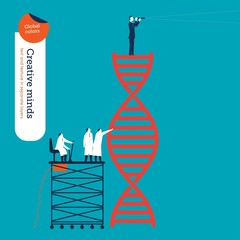 Scientists analyzing the dna code and businessman with spyglass