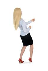 Business woman pull something
