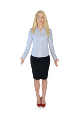 Business woman confused gesture
