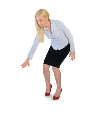 Business woman press something down