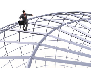 businessman walking on top of the sphere