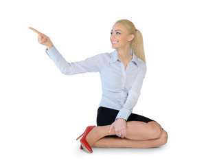 Business woman pointing side