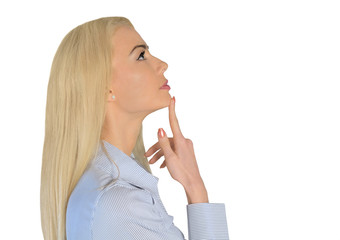 Business woman thinking up