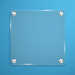 Glass plate background with rivets for text.