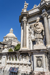 St. Peter cathedral church statues. Catania, Sicily, Italy