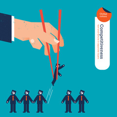 Hand with chopstick picking a businessman from a group