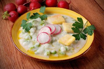 piatto vegetariano - crema di ravanelli con asparagi
