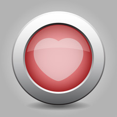 gray chrome button with heart