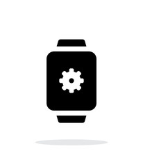 Settings in smart watch simple icon on white background.