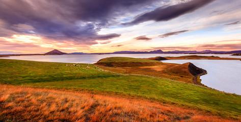 Sunset at Lake Myvatn