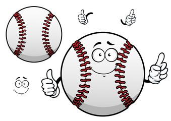 Cartoon baseball ball with thumb up