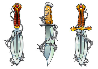 Cartoon ancient daggers with barbed wire