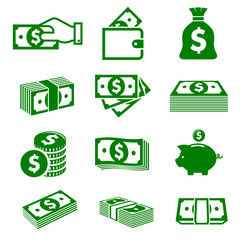 Green paper money and coins icons