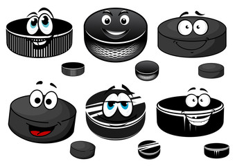 Cartoon black ice hockey pucks characters