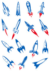 Cartoon blue space rockets and missiles