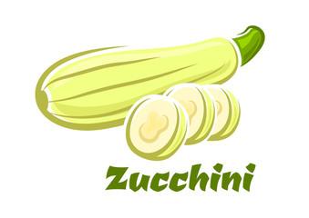 Cartoon whole and sliced fresh zucchini vegetable