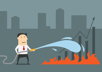 Businessman fighting with fire of economical crisis