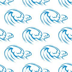 Blue ocean waves seamless pattern
