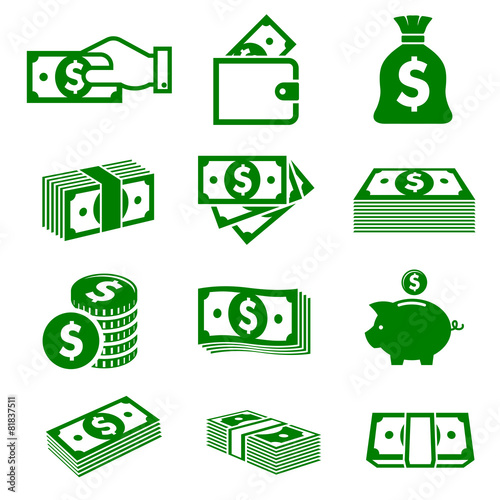 Green paper money and coins icons - 81837511