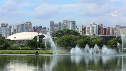 Fountains with skyline in Ibirapuera Park, Sao Paulo, Brazil
