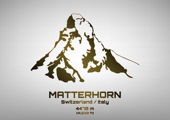 Outline vector illustration of bronze Mt. Matterhorn