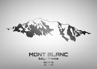 Outline vector illustration of steel Mont Blanc