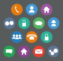 Set of basic flat design icons